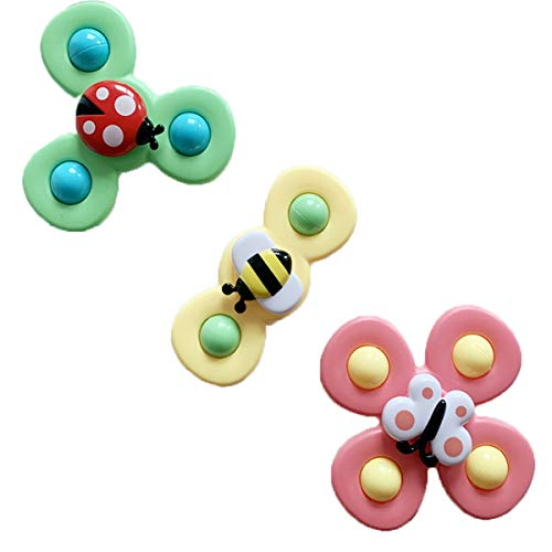 PHILSP Bounce Ball Baby Big Cartoon Insect Flower Spinner Fidget Spinner Top con Ventosa 1 Pieza Color al Azar