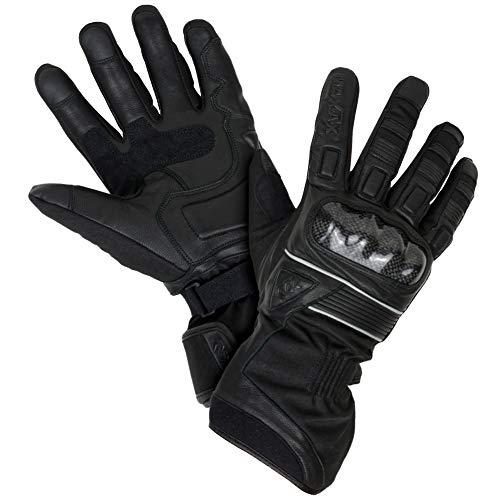 MAXAX Guantes de moto de invierno Aprobados por la CE, 2KP Guante de moto de invierno aprobado, impermeable y térmico, cuero y textil genuino, multi-refuerzo y protección, mujeres y hombres