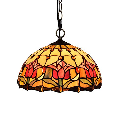 YALIXING Candelabros de Color - 12'Tiffany Pendant Light Rojo Tulip Luces Colgante Colgante Lámpara de Vidrio Manchado Corredor Balcón Bedroom Restaurant Café Luces Creativas de decoración del hogar
