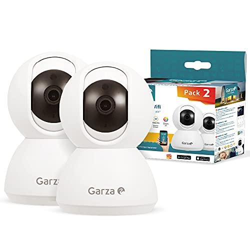 Garza ® Smarthome - Pack 2 Cámaras de Vigilancia Interior inteligente Wifi 360°, 720P HD, Visión Nocturna, Detección De Movimiento, Audio Bidireccional, Control remoto a través de app.