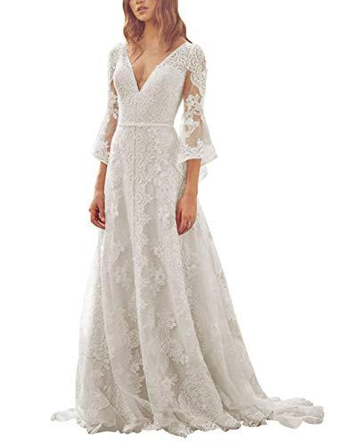 HUINI Damen V-Ausschnitt Brautkleid Boho Vintage Spitze Strand Hochzeitskleider Prinzessin Lang 3/4 Ärmel mit Rüschen Elfenbein 38