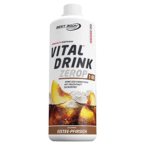 Best Body Nutrition Vital Drink ZEROP - Eistee-Pfirsich, Original Getränkekonzentrat Sirup zuckerfrei, 1:80 ergibt 80 Liter Fertiggetränk, 1000 ml