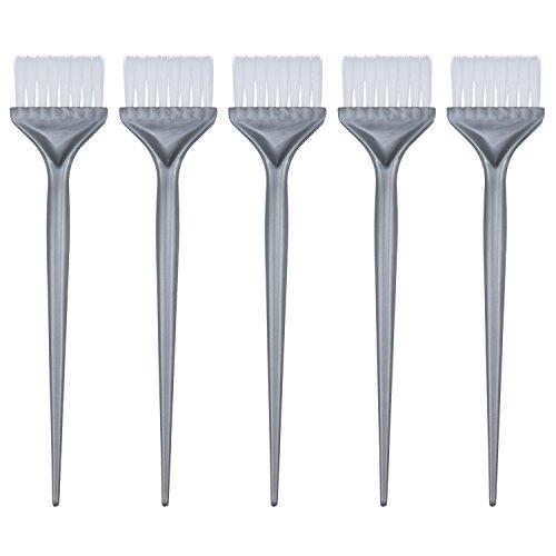 5 Stück Haarfärbemittel Farbbürsten Haarfärbungsfärbung Kit Griff Salon Haar Bleichen Tönung DIY Werkzeug, Silbern Grau