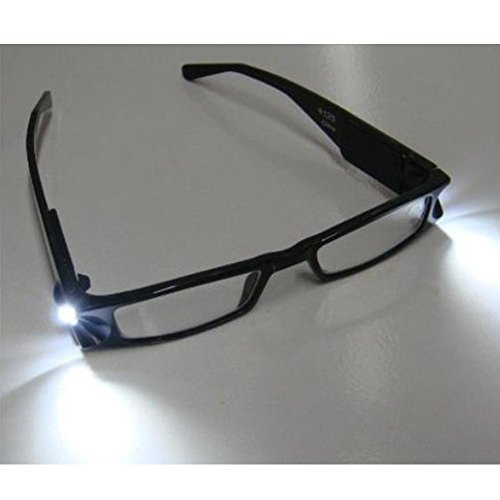 Tping Universal Negro Iluminado LED Gafas de Lectura Rectangular Presbicia Montura Plástico con Luz Lámpara Potencia/Dioptría +1.00 +1.50 +2.00 +2.50 +3.00 +3.50 +4.00 para Unisex Viejo Mujer Hombre