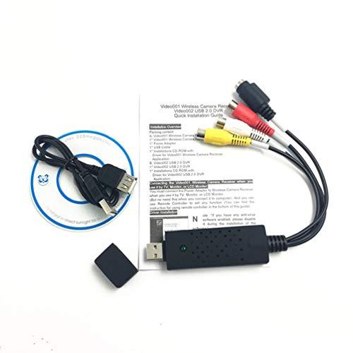 HETUI USB 2.0 Easy Cap Video TV DVD VHS DVR Adaptador de Captura Compatible con Win8 Win10 (Negro)