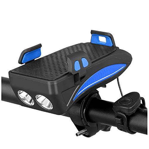 HFXZ2018 Multifunción Linterna de la Bici, Clip elástico Luces de Bicicleta con amortiguación de Juntas, 4 en 1 4000mAh de Gran Capacidad de la batería Ligero de la Bicicleta,Azul