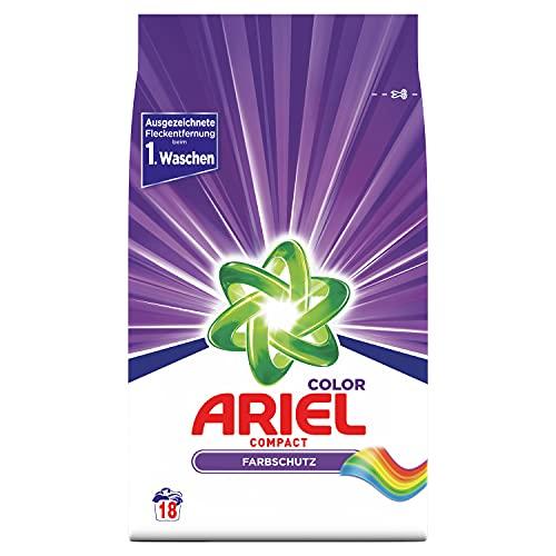 Ariel Waschmittel Pulver Waschpulver, Color Waschmittel, 18 Waschladungen, Compact, Farbschutz (1.35 kg)