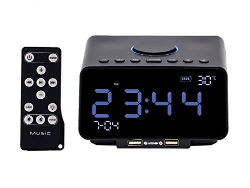 Mars Jun Digitale wekker, bluetooth-wekker, tafel, radioklok met bluetooth 4.1/AUX/TF-kaart/U-disk spelen, FM-radio, instelbare helderheid en dual USB voor iOS/Android telefoons en tablets zwart
