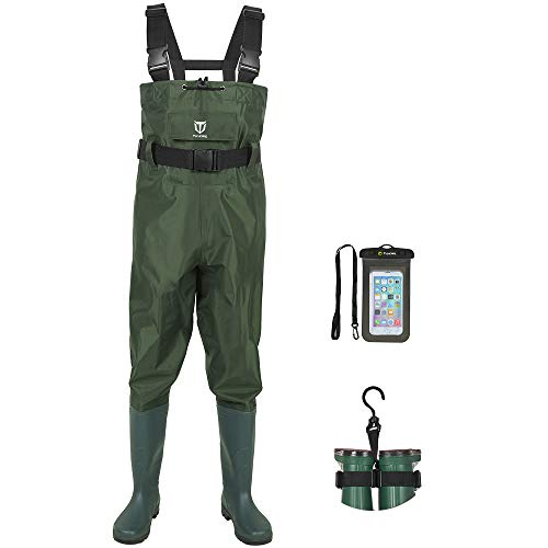 TIDEWE Bootfoot Chest Wader, 2-Ply Nylon/PVC Waterproof Fishing & Hunting Waders with Boot Hanger for Men and Women Green Size 12