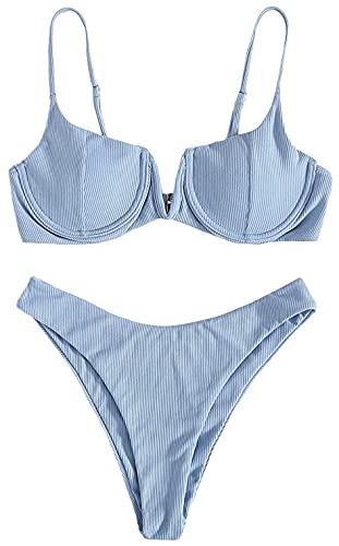 Joligiao Damen Bikini Set Zweiteilige Vertikale Streifen Badeanzug High Cut Bralette V-Anschluss Sexy Swimsuit Mit Stahlring Push up Sommer