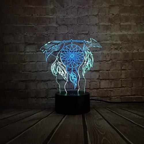 YJLGRYF LFKB1234 Wind Chimes Tischlampe Schalter Traumfänger 3D-Touch Ändern Nachtlicht Schlafzimmer Partei Schreibtisch Dekor-Lampen-Kind Weihnachten