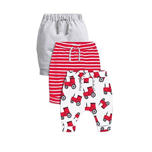 CuteOn 3 Paquete Unisexo Niños Niñito Harén Pantalones Algodón Elástico Pantalones Rojo 6 Meses