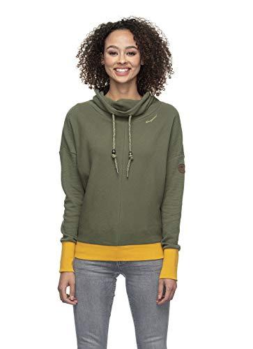 Ragwear BALANCIA Organic Damen,Streetwear,Pullover,Hoodie,hoher Stehkragen,vegan,Mehrfarbig,Olive,S