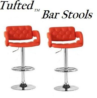 Red Adjustable Bar Stools - 3