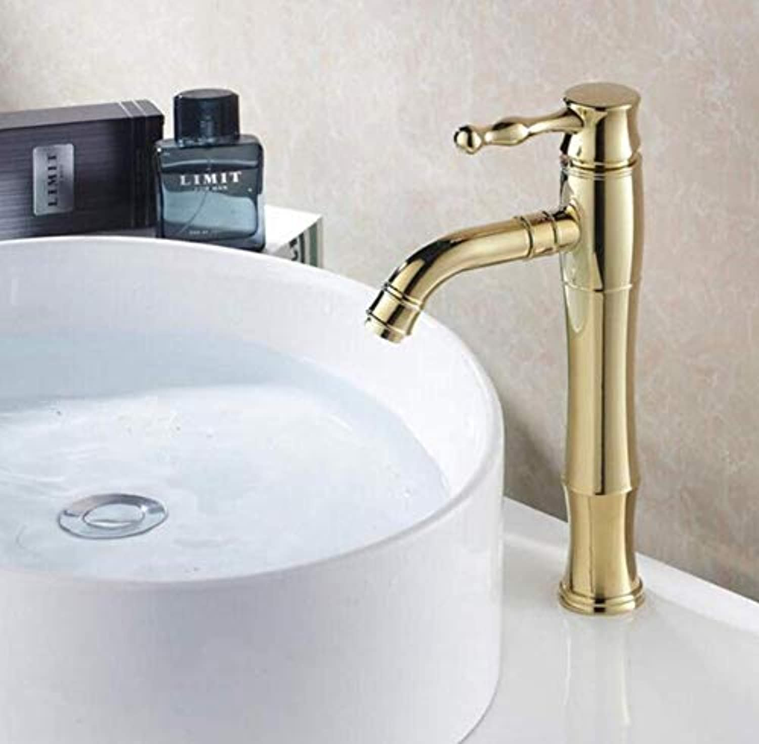 Brass Wall Faucet Chrome Brass Faucetmounted Single Handle Hot and Cold Water Faucets golden Brass Tap