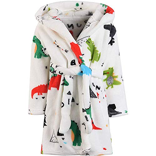 Boys Girls Bathrobes, Toddler Kids Hooded Robes Plush Soft Coral Fleece Pajamas Sleepwear for Girls Boys (Cartoon Dinosaur, US 3T/Height 39.4