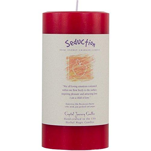 6' X 3' Crystal Journey Herbal Magic Reiki Charged Pillar Candle - Seduction