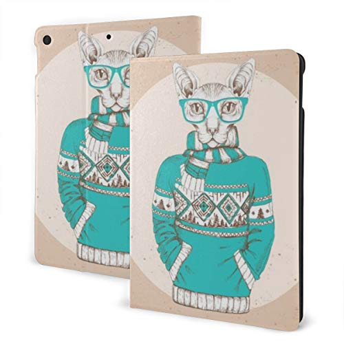 Animal Design Case for ipad 7th Generation 10.2in and ipad Air 3 & Pro 10.5in TPU Protective Leather Cover Adjustable Stand Auto Wake/Sleep Smart Case - Retro Hipster Fashion Animal Sphynx