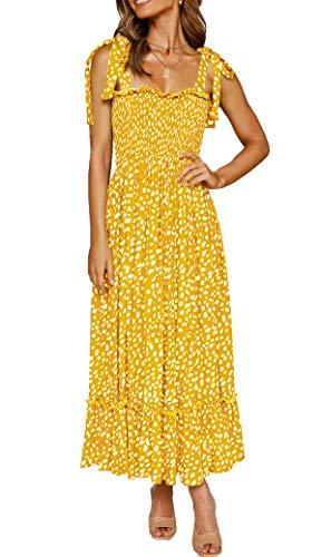 R.Vivimos Women's Summer Straps Cotton Irregular Polka Dot Ruffles Midi Dress (Small, Yellow)