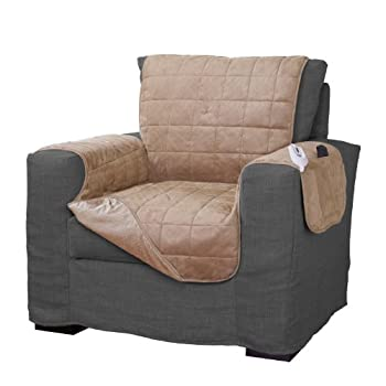 Serta | Quilted Electric Warming Furniture Protector Pet Safe & Durable Easy Care Microsuede Fabric  Chair Protector Camel