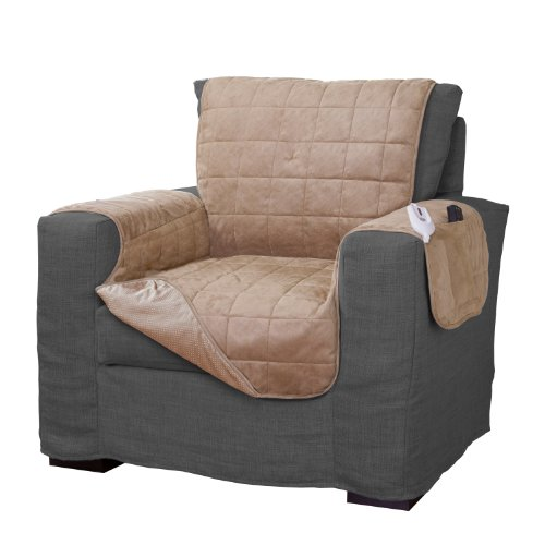 Serta | Quilted Electric Warming Furniture Protector, Pet Safe & Durable Easy Care Microsuede Fabric (Chair Protector, Camel)