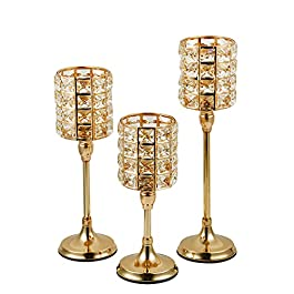 Vincidern Gold Crystal Candle Holder for Dining Table Decor Tealight Candlestick Holder Centerpiece for Fireplace Candelabra, Home, Party, Housewarming Gift (Pack of 3 Pcs)