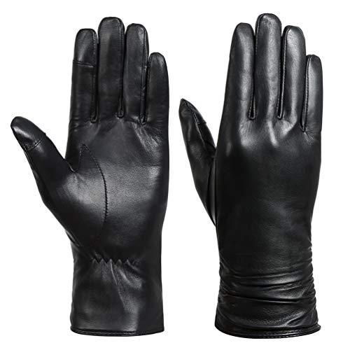 Acdyion Damen Winter Handschuhe Echtleder Touchscreen Warm Elegant Kaschmirfutter Kaschmir Lederhandschuhe, Echtes Leder wasserdicht, winddicht (Schwarz, L)