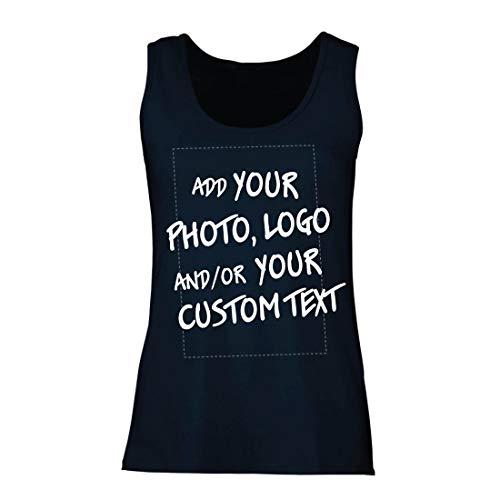 lepni.me Camisetas sin Mangas para Mujer Regalo Personalizado, Agregar Logotipo de la Compañía, Diseño Propio o Foto (Small Azul Multicolor)