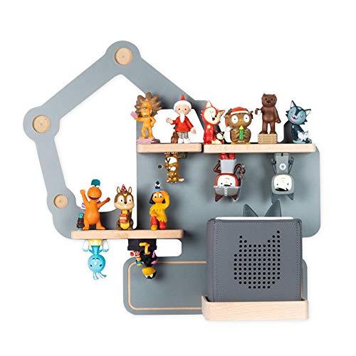 BOARTI Kinder Regal Bagger small in Grau - geeignet für die Toniebox und ca. 23 Tonies - zum Spielen und Sammeln
