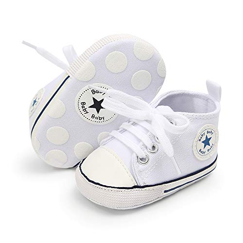 Baby Boys Girls Canvas Shoes Soft Sole High-Top Ankle Sneakers Infant Newborn First Walker Prewalker Shoes(0-18 Months) (12-18 Months, White)