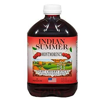Indian Summer 100% Tart Cherry Juice Montmorency Cherry Juice 46 Ounce  Pack of 8