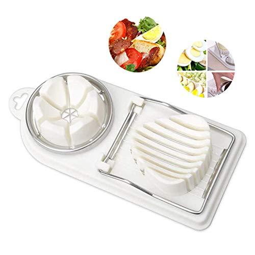 Nobrand Eierschneider, multifunktional, Eiertrenner mit scharfen Schnitzen aus Edelstahl, Weiß