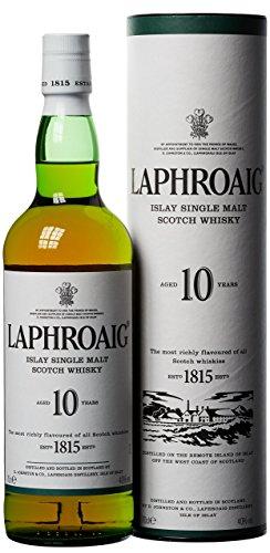 Laphroaig 10 Jahre Islay Single Malt Scotch Whisky, mit Geschenkverpackung, einzigartig rauchig-torfiger Geschmack, 40% Vol, 1 x 0,7l