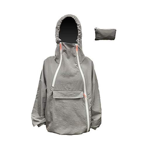 Unisex Waterproof Packable Rain Jacket Lightweight Windbreaker Hooded Raincoat Anorak Men's Women's Adult (Grey, Men S/Women M)