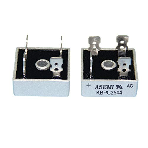 ASEMI (Pack of 2pcs) KBPC2504 Through Hole Square Rectifier Bridge Diode 400v 25amp …