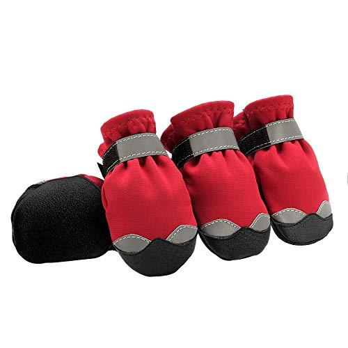 Pootbescherming winter-hondenschoenen warme huisdier hond laarzen waterdicht doppen regen sneeuw booties sokken reflecterende voor kleine grote hond schoenen in de open lucht 7 rood