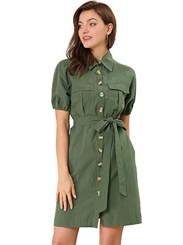 Allegra K Women's Safari Dress Collared Button Down Cotton Belted Shirtdress Small Army Green