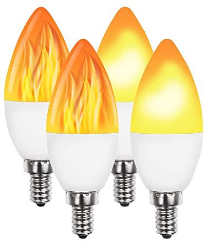 Luminea E14-LED-Flammen-Lampen: 4er-Set LED-Lampen mit Flammeneffekt, 3 Beleuchtungs-Modi, E14, 2 W, (E14-Flammenlampe)