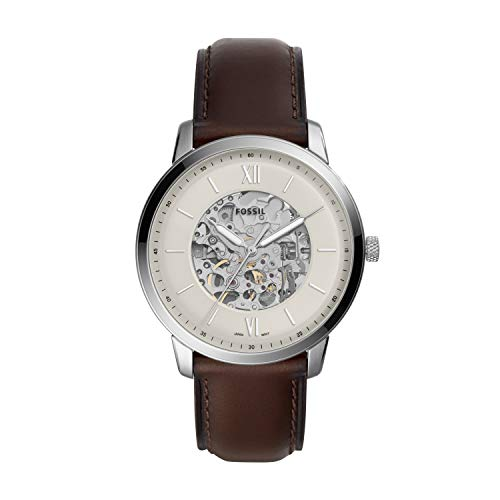 Fossil Men's Neutra Automatic Stainless Steel Watch with Leather Strap, Brown, 22 (Model: ME3184)