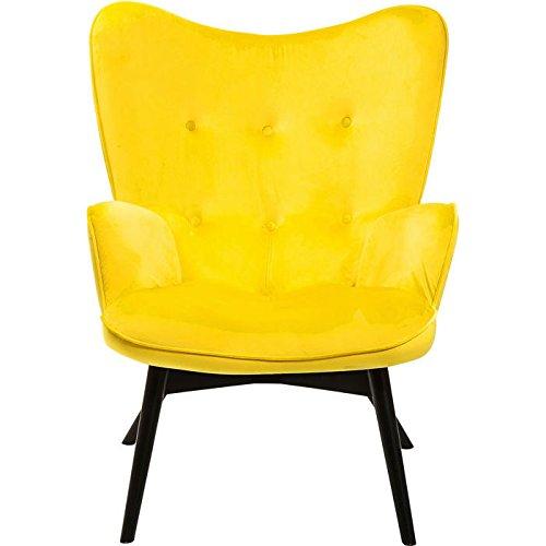 KARE Design Sessel Vicky 82661 mit Armlehnen, Ohrensessel mit Samt Bezug, Polstersessel in Gelb, Pflegeleichte Oberfläche, Füße aus massiver Buche lackiert, 59x63x92cm