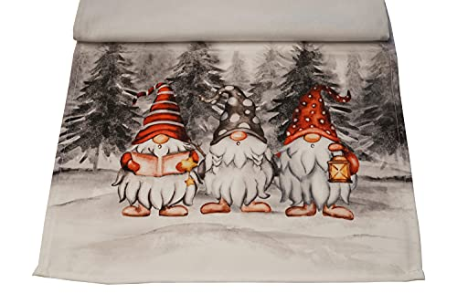 khevga, decorazione natalizia, runner da tavolo, motivo: gnomo