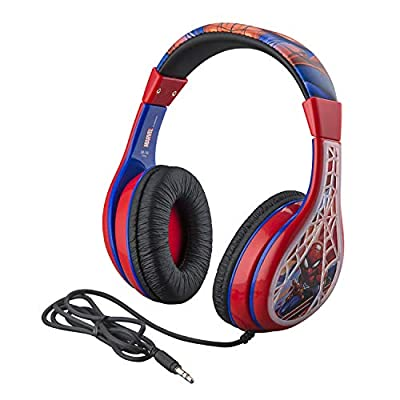 Spiderman Kids Headphones, Adjustable Headband, Stereo Sound, 3.5Mm Jack, Wired Headphones for Kids, Tangle-Free, Volume Control, Foldable, Childrens Headphones Over Ear for School Home, Travel by Ekids