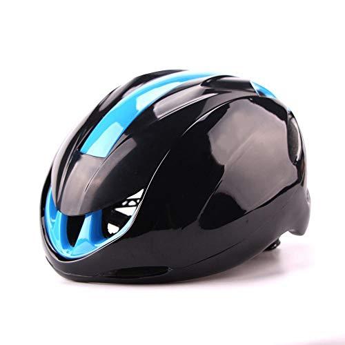 HKRSTSXJ Sistema de Control de la Bici del Camino de los Hombres Ultra Ligero y Mujeres de Montar Casco Delantero neumático Transpirable Casco de Seguridad (Color : Black Blue)