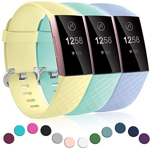Dirrelo 3 Pack Armbänder Kompatibel mit Fitbit Charge 3/Fitbit Charge 4/Charge 3 SE Armband für Damen und Herren, Sport Verstellbares Ersatzarmband Silikon Uhrenarmband, Lila+Gelb+Blaues Meer S