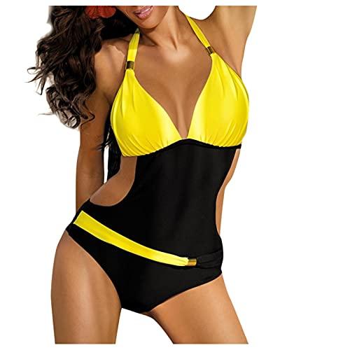 Traje de Baño Una Pieza Cuello Halter para Mujer Bañadores con Costura de Color Sólido Ropa de Baño Mujer Hueca Monokini de Cuello en V Bikinis Casual Verano para Buceo,Natación,Surf