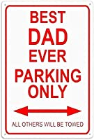2個 史上最高のお父さん駐車場ブリキの看板金属板装飾看板家の装飾プラーク看板地下鉄金属板8x12インチ メタルプレートブリキ 看板 2枚セットアンティークレトロ