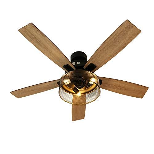 Ventilador de techo retro con mando a distancia, reversible, con aspas de madera, 5 52 pulgadas