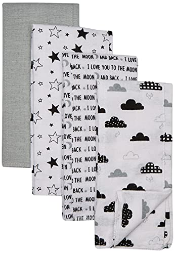 Hudson Baby Unisex Baby Cotton Flannel Burp Cloths, Moon And Back, One Size