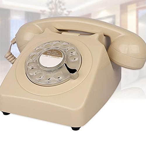 SGSG Teléfono Retro, teléfono Retro Americano Teléfono Antiguo de la Vendimia Teléfono Fijo Teléfono Fijo Dial Giratorio Tono mecánico Oficina Hogar Naranja