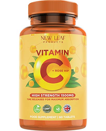 High Strength Vitamin C Plus Rosehip - Maximum Absorption - Time Release Formula - 1500mg VIT C Supplement Vegan, GMO-Free, GMP - Supplements for Immune Support, 2 Months Supply, 60 Tablets